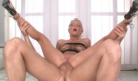 Leggy blonde Jennifer Love gets her smooth pussy fucked hard