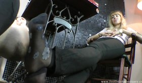 White boots blonde getting her stinky feet worshipped on cam