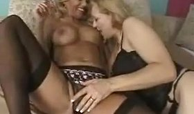 Cheerful bombshell milfs are getting on top of each other