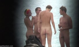 Horny amateur talking to some people on the nudist beach