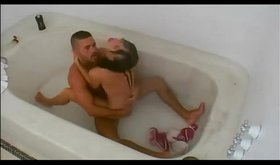 Glamorous petite sweetie getting smashed in the bathtub
