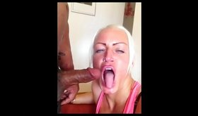 Mature blonde skank swallows a fat cock whole