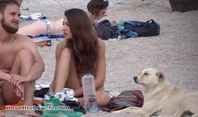 Amateur GF takes her boyfriend and their dog to a nude beach