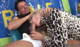 Feet loving blonde dominated by a guy and fucked hard