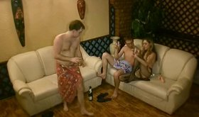 Amateur couple and their horny friend: sharing his girlfriend